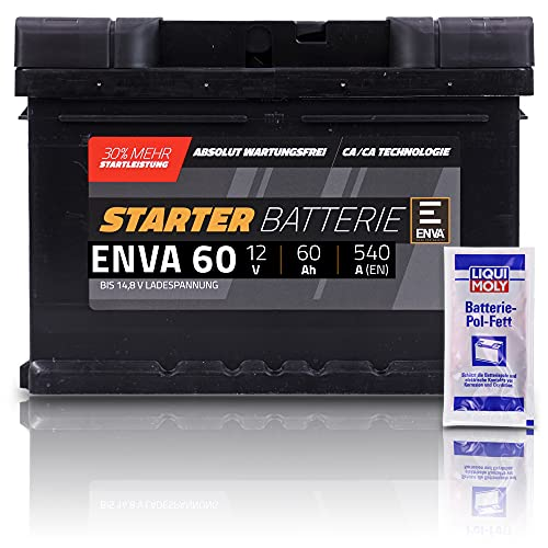ENVA Autobatterie 12V 60Ah 540A Starterbatterie PKW Batterie Wartungsfrei +30{82641283eab1a60f7faeabe8856d3522965eab7f2998361f8fa07503c464a50d} Startleistung inkl. Polfett
