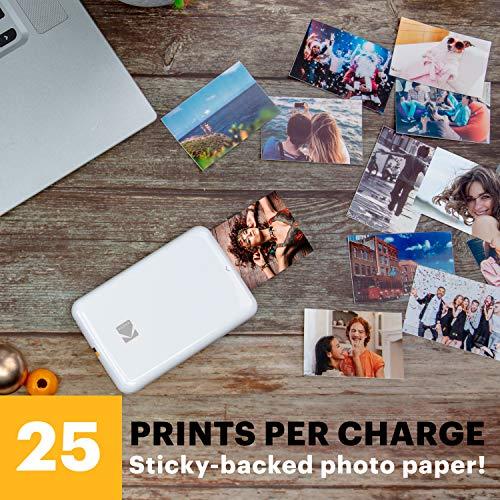 KODAK Step Wireless Mobile Photo Mini Printer (White) Compatible w/ iOS & Android, NFC & Bluetooth Devices