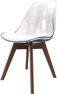 ZONS – Lote de 2 sillas de polipropileno transparente con patas de madera estilo sándwiche,