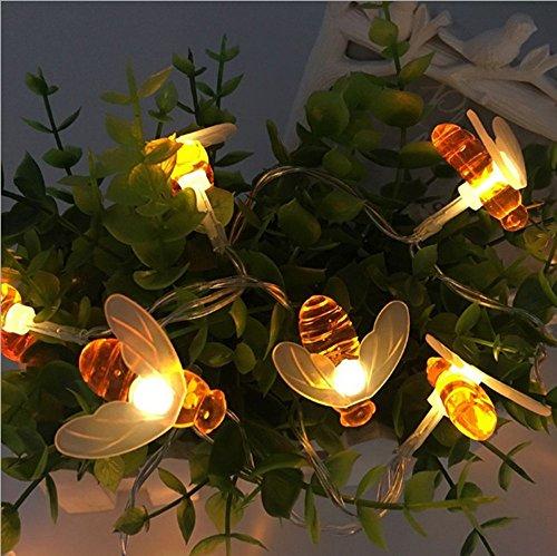Honigbienen-Lichterkette, Eonsmn, niedliche Biene, 5 m, 40 LEDs, batteriebetrieben, warmweiß, Lichterkette für drinnen und draußen, Garten, Sommer, Party, Hochzeit, Dekoration