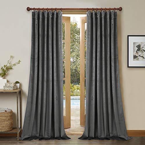 StangH Grey Velvet Curtains 96 inches - Thick Plush Velvet Blackout Drapes, Back Tab Design Insulated Window Covering for Living Room / French Door, W52 x L96, 2 Panels