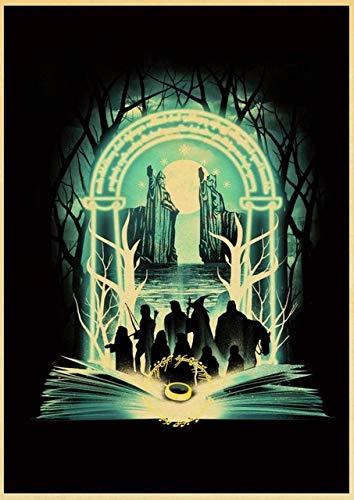 Retro Fantastic Beast El señor de los anillos Retro atihRompecabezas, rompecabezas de tablero de madera, 75x50cm Adecuado para juegos familiares, castillos, historia, atracciones, excursiones, parques