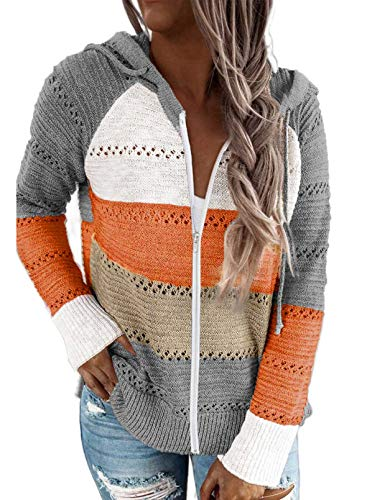 Pevilo Women's Zip Up Hoodie Jacket Lightweight Long Sleeve Color Block Knitted Sweatshirt Hoodie Gray