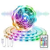 USB LED Strip 5M LED Streifen, Besvic RGB LED Band TV LED Hintergrundbeleuchtung mit Fernbedienung, 16 Farben und 4 Modi Sync mit Musik LED Lichterkette Lichtband Dimmbar für TV PC Schlafzimmer