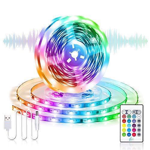Striscia LED USB RGB 5M, Besvic Musica Sync Striscia LED TV Retroilluminazione con Telecomando, 16 Colori 4 Modalità Dimmerabile Luci Strisce LED Strip per TV Feste in Camera da Letto