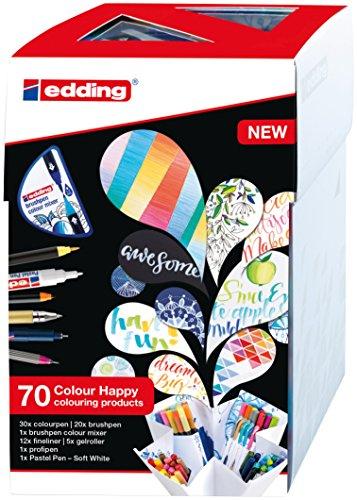 edding Set mit 70 Teilen (69 Stifte und Colour Mixer) Fasermaler, Pinselstifte, Fineliner, Gelroller, Farbmixer und Pastell-Stift. Colour Happy Set S69+1 zum Zeichnen, Malen und Handlettering