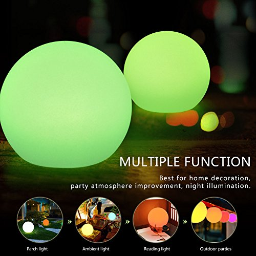 VGEBY lichtbol LED Ball oplaadbaar sfeerlicht met 16 kleurwisselingen & 4 RGB en 10 m afstandsbediening IP65 waterdicht buitenlamp voor decoratie tuin, huis, feest, Kerstmis, Halloween