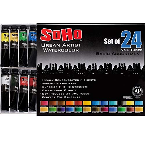 SoHo Urban Artist Watercolor Set Highly Concentrated Watercolor Paints Basic Colors Set of 24 7ml Tubes - Assorted Colors