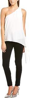 BCBGMAXAZRIA Women's One Shoulder Asymmetrical Draped Top