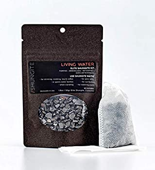 Modern ŌM Shungite Living Water Kit | Ready to Use Authentic Elite Shungite Detoxification Stone Gravel Pouch Kit for Natural Water Purification Neutralizes Bacteria Contains Antioxidants  50g