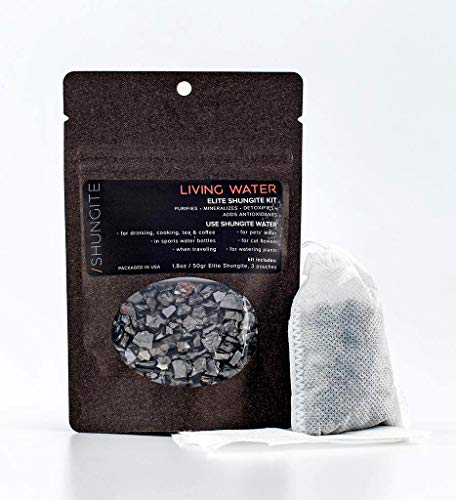 Modern ÅŒM Shungite Living Water Kit   Ready to Use Authentic Elite Shungite Detoxification Stone Gravel Pouch Kit for Natural Water Purification, Neutralizes Bacteria, Contains Antioxidants (50g)