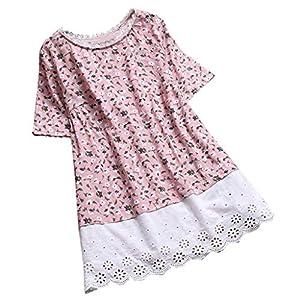 Ausverkauf 2019 Neu Damen Spitze Blumendruck Hohl Patchwork Top,Frauen Sommer Beiläufige Lose Vintage Kurzarm T-Shirts Bluse Tunika Shirts Pullover T