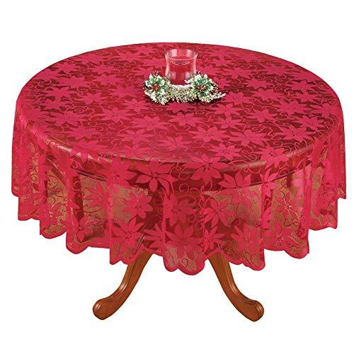 "Sourcemall - Mantel de Encaje Floral, Color Rojo, 70"""
