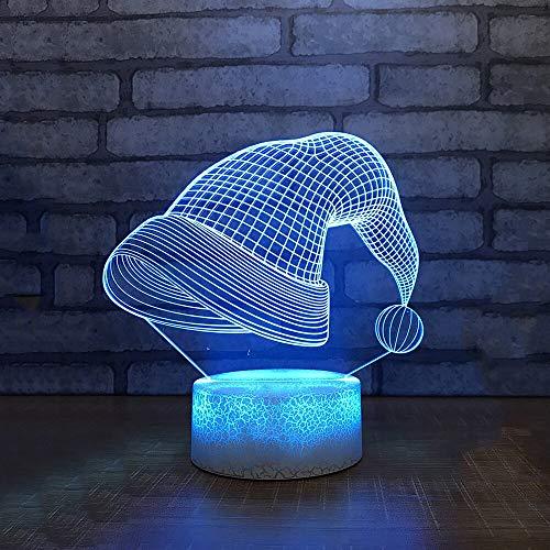 Increíble lámpara de mesa LED 3D colorida con forma de sombrero de Navidad, lámpara de noche para oficina, hotel, dormitorio, decoración, regalos de Navidad, control remoto