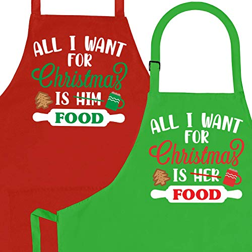 Christmas Matching Aprons for Couples Funny Couple Kitchen Aprons with 2 Pockets for Cooking Baking Cute Xmas Gift for Wife Husband Girlfriend Boyfriend Mom Dad Friends Family