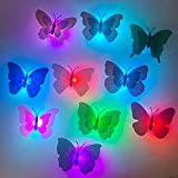 24 Pack LED Butterfly Decorations Night Lights, 3D Butterfly Sticker Wall Decor Art Decorations, Butterfly Wall Stickers Light for Garden Party Backyard Lawn Festive Party Home Room Decorations