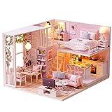 Fsolis DIY Puppenhaus Miniatur Kit mit Möbeln, 3D Holz Miniatur Haus mit Staubschutz und...