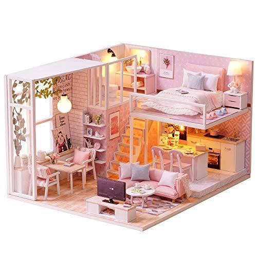 Fsolis Casa de Muñecas en Miniatura de Bricolaje con Mueble, Casa en Miniatura de Madera 3D con Cubierta Antipolvo y Movimiento Musical, Kit de Regalo Creativo de Casas para Muñecas-Tranquil Life