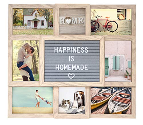 Customizable Large Picture Frame Collage (Natural) with Genuine Felt Letter Board: 8-Opening Multiple Picture Frame Set to Personalize Memories - Gift for Family and Friends