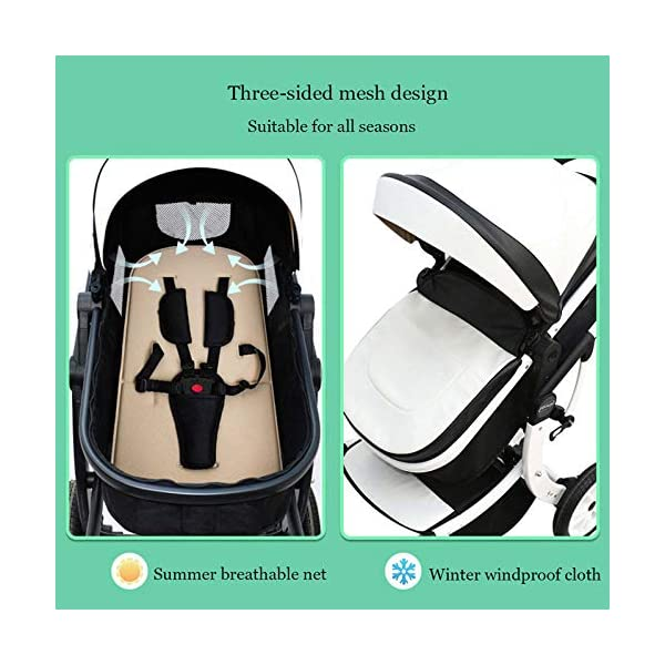 JXCC Baby Stroller Ultra Light Folding Child Shock Absorber Trolley Can Sit Half Lying 0-3 years old,15kg maximum -Safe And Stylish B JXCC 1. {All seasons} - Three-sided mesh design, the awning can be adjusted at multiple angles to easily cope with the sun 2. {55CM high landscape} - Baby can stay away from hot air surface, car exhaust, for baby's health 3. {3D Stereo Vibration} - X-frame design, evenly dispersing the upper weight, front wheel built-in suspension, rear wheel frame suspension 4