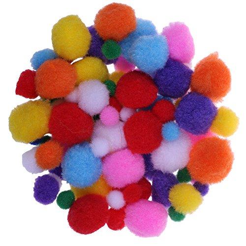 i-mondi® Pompones color surtidos para manualidades y decoración 110 piezas tamaños 10, 15, 20, 25 mm surtidos