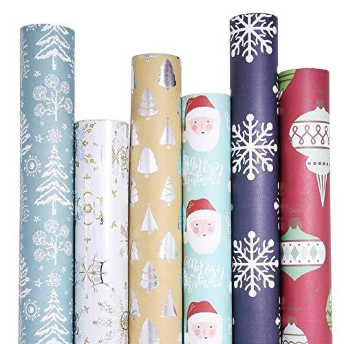 UNIQOOO 6 Festive Designs Christmas Wrapping Paper Precut Sheets, Each 27.5 x17 Inch- Blue Silver Brown Kraft Metallic Foil Gift Wrap, Santa Claus, Christmas Ornaments, Snowflake, Tree, Family Bundle for Kids, Her & Him, 24 Sheets