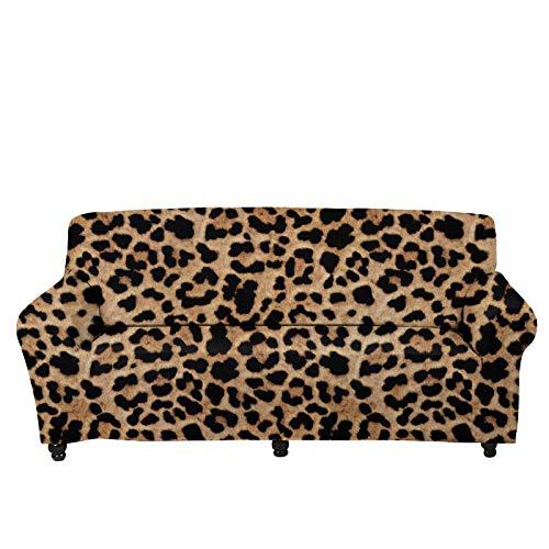 UOIMAG Funda de sofá elástica para sofá de leopardo, funda protectora lavable para sofá de 2 plazas