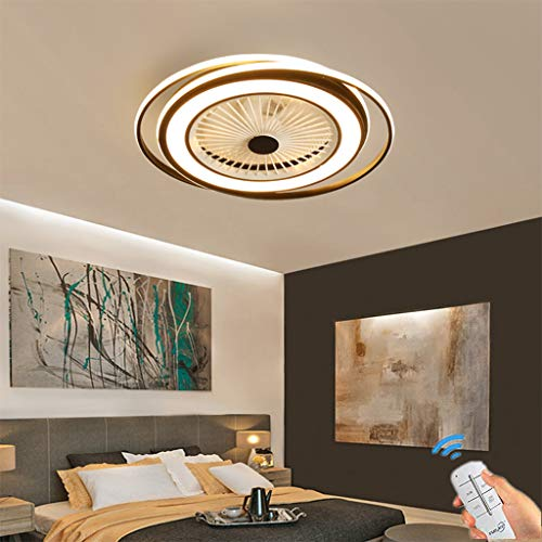 Unsichtbares Fan licht Einstellbar modern LED Deckenventilator mit Beleuchtung Schlafzimmer Fan Deckenleuchte Dimmbar Einfache Wohnzimmer leuchte mit Fernbedienung leise Ventilator fürKinderzimmer62cm