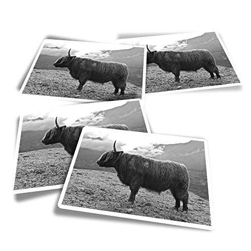 Vinyl Rectangle Stickers (Set of 4) - Isle of Skye Highland Cow Scotland Fun Decals for Laptops,Tablets,Luggage,Scrap Booking,Fridges #16299
