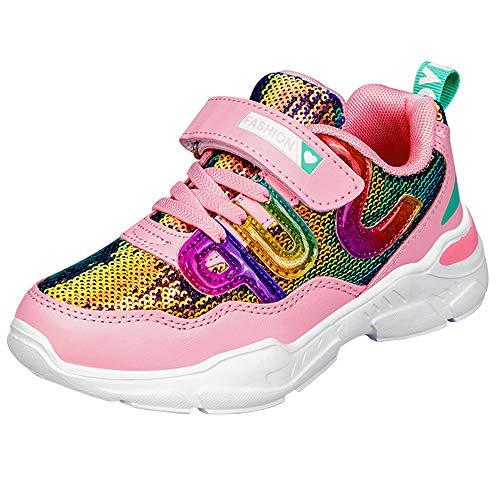 HSNA Zapatillas con Lentejuelas Niña Zapatos de Gimnasia para Caminar Ligero Trainers Kids(a01 Rosa 35 EU)