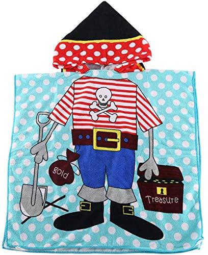 Ruiuzioong Kinder Poncho Handtuch für Strand Schwimmen Bad Kapuzenhandtuch, Kinder Mikrofaser Cartoon Bademantel Schnell Trocknende Handtuch für Mädchen,Jungen (Pirate, 120 * 60cm)