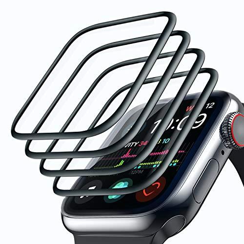 Tentoki [Lot de 4 Protection Écran pour Apple Watch 44mm Series 4/5/6/SE, [Couverture Complète] [sans Bulles] [Anti-Rayures] Transparent Doux TPU Film Protection Écran pour iWatch Series 6/SE/5/4 44mm
