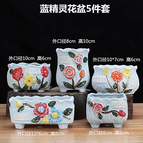 CTDMMJ Saftiger Blumentopf atmungsaktiver Steinzeug Keramik Blumentopf-Schlümpfe Sukkulentenbecken 5er Set_Klein