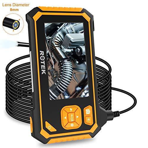 ROTEK Endoskop, Hand Industrie-Endoskopkamera 4,3 Zoll-LCD-Bildschirm, Digitale Inspektionskamera Wasserdicht 1080P HD mit 6 LED Licht, Flexible Video Boreskop mit 2600mAh Lithium-Batterie 5 M