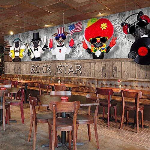 MGQSS Tapete Wandgemälde Wandkunst Dreidimensionale Graffiti der Zoohandlung 3D Selbstklebend PVC Wandgemälde Essen und Trinken Café Geschäft Restaurant Bekleidungsgeschäft Jahrgang (B)350x(H)256 cm