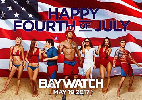 Eliteprint Baywatch Happy Fourth of Juli, klassisches A4-Vintage-Poster aus 250 g/m² Druckmaterial