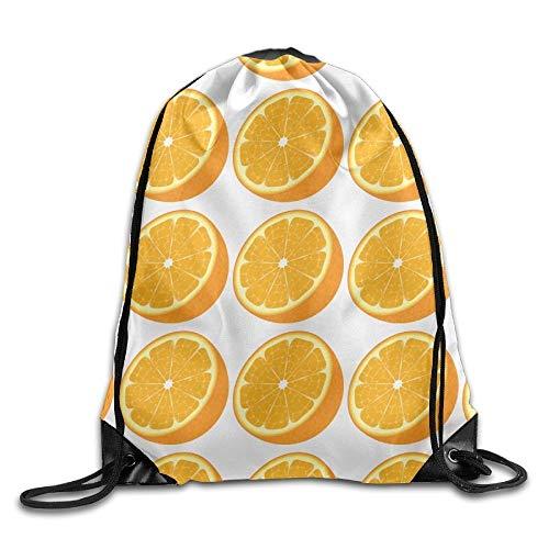 Lsjuee Orange Pulling-knapsack Backpack Sport Gym Sack Drawstring Backpack Bag