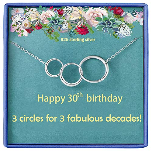 * NEW * Sterling Silver Necklace with 3 Circles for 3 Decades