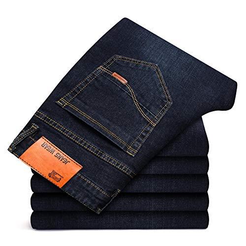 ShSnnwrl Guapo Jeans Vaqueros Pantalon Pantalones Vaqueros Rectos Ajustados De Estilo Empresarial para Hombre,...