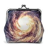 Universe Milky Way Nebulosa Galaxy Impreso Mini Monedero Cuero Pu Cartera Bolsa de Embrague con Cierre de Beso