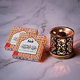Dukhni Bakhoor – Oud Al Ibtisam - Set of 2 Premium BAKHOOR Incense - 9 Pieces in Each Box with Taj Exotic BAKHOOR Burner. Perfect for Indoors, Meditation, Relaxation, Unwinding, Chanting, Peace