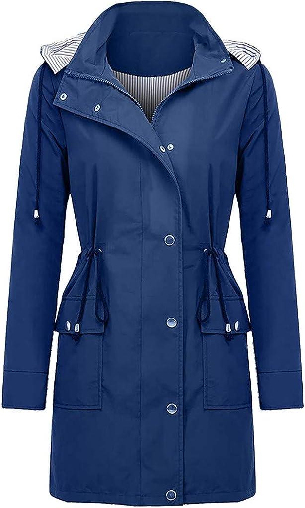 Women Light Rain Jacket Waterproof Waistband Active Outdoor Trench Raincoat with Hood Lightweight Plus Size