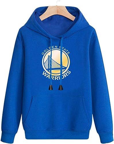 HuWai-de plein air Sweat à Capuche NBA oren State Warriors Basketball Sportif décontracté pour Homme Ample et Confortable personnalité bleu Coat
