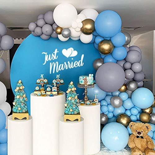 MMTX Hochzeitsdekoration Ballon Girlande,142 Stück Blau Weiß Grau Party Ballon Set, Latex Ballon & Metallic Ballon für Geburtstag Hochzeit Junggesellenabschied Baby Shower Taufe