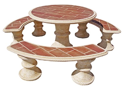 AnaParra Ensemble de Table en Pierre Ronde Carrelage 120 cm Modèle : Sapin.