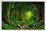 Gerahmtes Poster mit tropischem Dschungel, Regenwald,