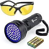 TaoTronics TT-FL002 Black Light, 51 LEDs Uv Blacklight Flashlights Detector for Dry Pets Urine & Stains & Bed Bug with Free Uv Sunglasses & 3 Free AA Batteries, Purple