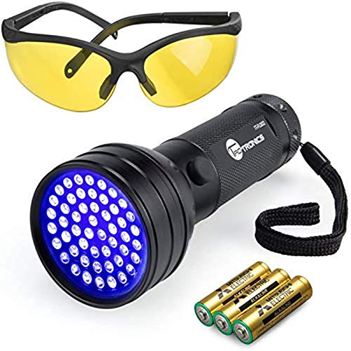 TaoTronics TT-FL002 Black Light, 51 LEDs Uv Blacklight Flashlights Detector for Dry Pets Urine & Stains & Bed Bug with Free Uv Sunglasses & 3 Free AA Batteries, Purple