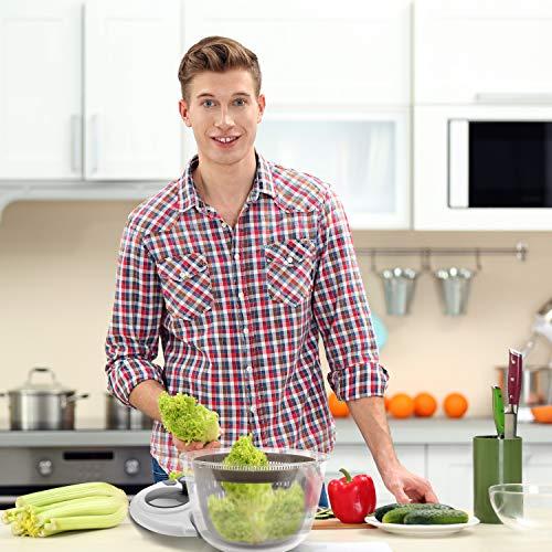 Lacari ® Salatschleuder mit großem [5L] Fassungsvermögen – Optimaler Salattrockner mit Ablaufsieb - Einfaches Bedienen durch Drehen der Kurbel - 4