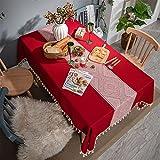 Mantel De Navidad Rectangular Mantel Rojo Hogar Sala De Estar Mantel De Cocina Mantel Impermeable Decoración De Sala De Estar Cocina Mesa De Comedor Cumpleaños Boda Fiesta De Halloween 140x260cm